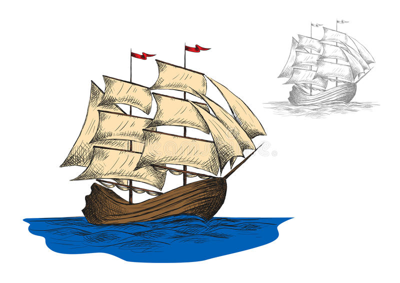 Old sailing ship among ocean waves. Old sailing ship among blue ocean waves, second variant in gray colors. Marine travel or ocean cruise design. Vector sketch vector illustration