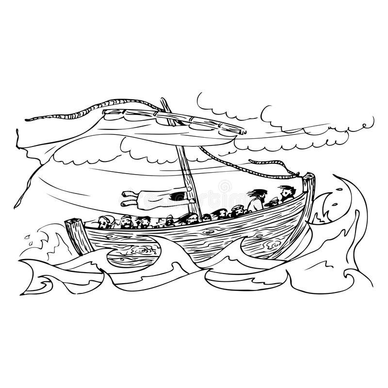 Old sailing ship on the sea in the storm vector illustration