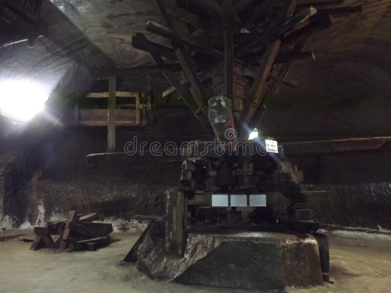 Old salt mine extraction machine stock photography