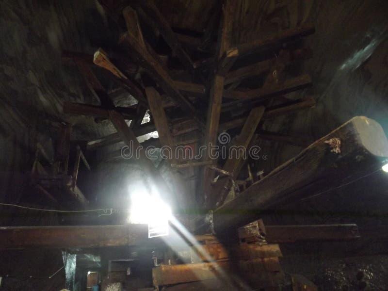 Old salt mine extraction machine stock images