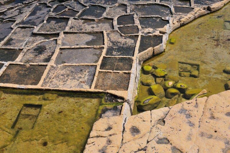 Old salt ponds. Old salt evaporation ponds, Malta island royalty free stock photo