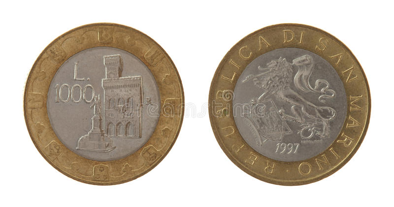 Download Old Sammarinese Coin Isolated On White Stock Photo - Image: 26790696