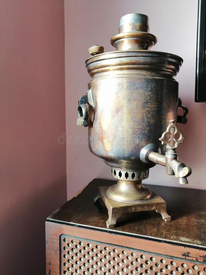Old samovar in the interior stock image