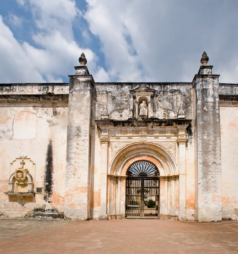 Old San Jose cathedral ruins. Exterior facade of old San Jose cathedral ruins, Antigua Guatemala city, Guatemala royalty free stock image