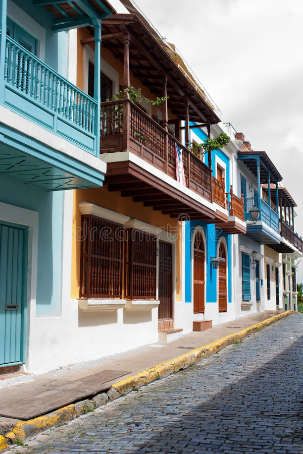 Old San Juan. A street in Old San Juan, Puerto Rico stock photos