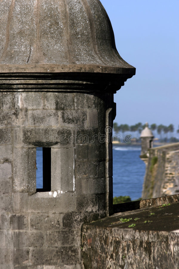 Old San Juan 2. A gun turret from the El Morro castle in Old San Juan, Puerto Rico on a beautiful sunny day royalty free stock image