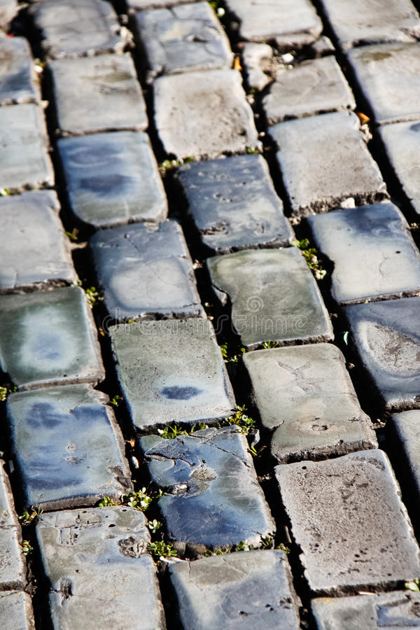 Old San Juan - Blue Cobblestone Diagonals. The famous blue cobblestones that make up many of the streets found throughout Old San Juan, Puerto Rico. This royalty free stock image