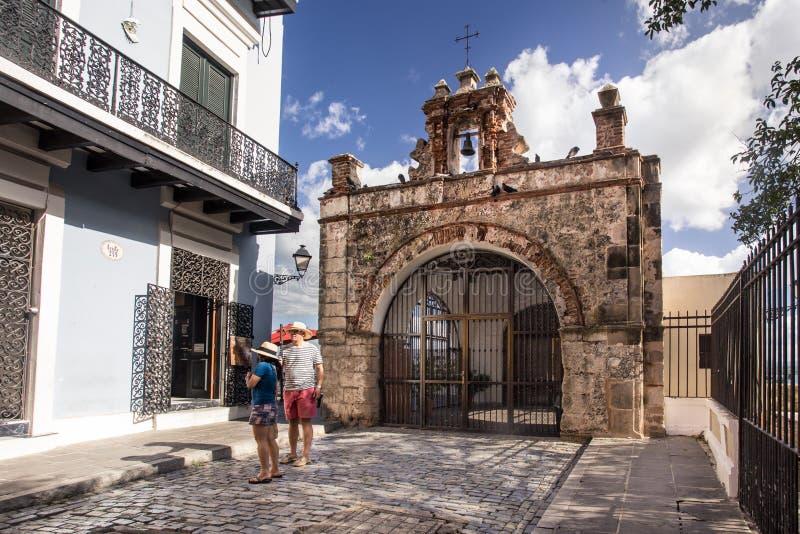 Old San Juan Chapel. OLD SAN JUAN, PUERTO RICO - MARCH 27, 2015: Historic street chapel in Old San Juan, Puerto Rico stock photos
