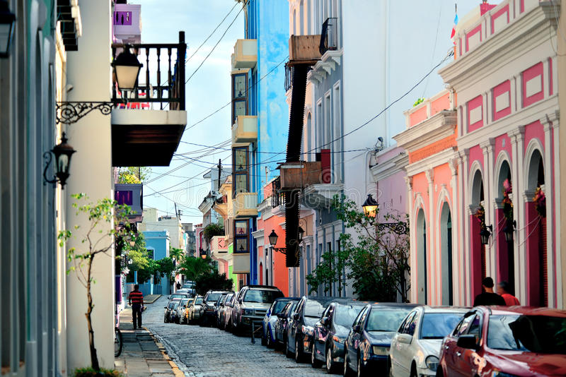 Old San Juan downtown. Street with stores and buildings royalty free stock image