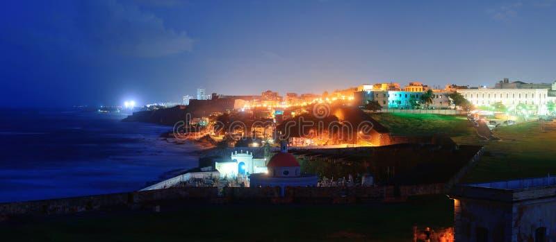 Old San Juan at dusk. Old San Juan ocean view at dusk with buildings royalty free stock images