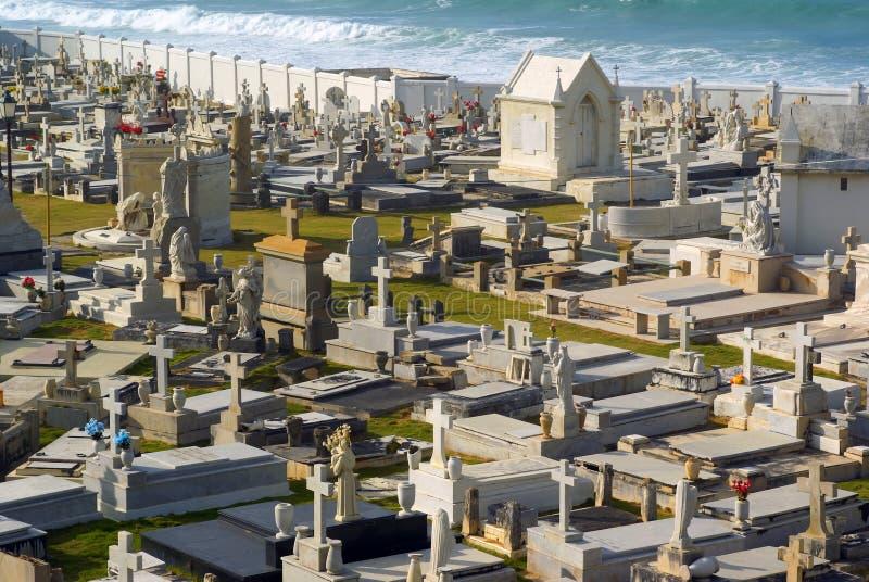 Old San Juan graveyard with chapel stock image