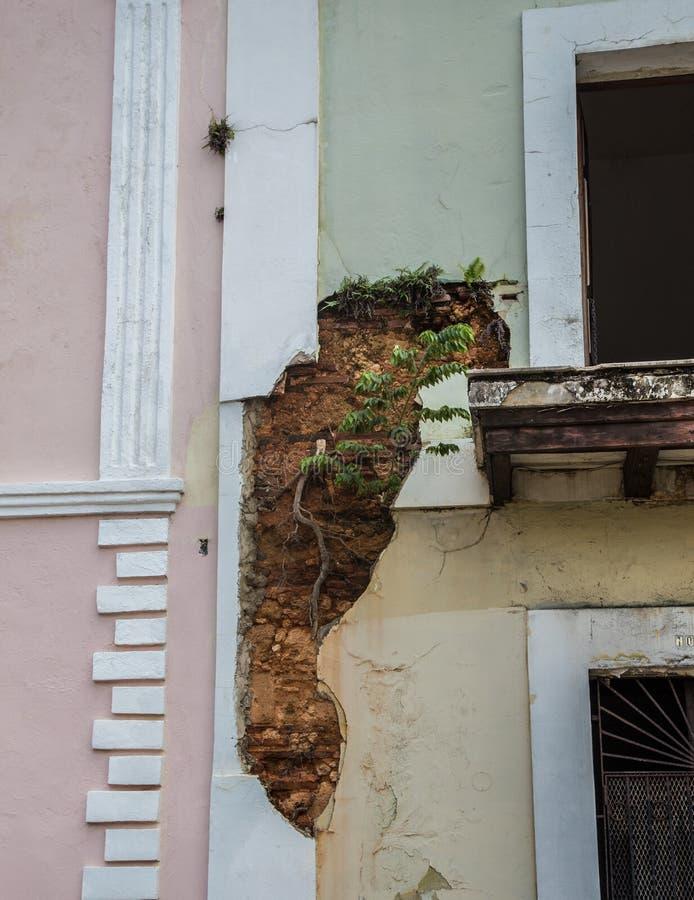 Old San Juan Home. Colorful homes and apartments showing original brickwork in Old San Juan, Puerto Rico royalty free stock image