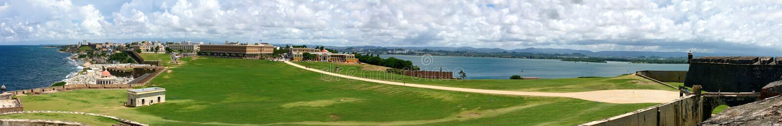 Old San Juan Pano. Wide angle panoramic view of Old San Juan Puerto Rico from El Morro fortification stock image