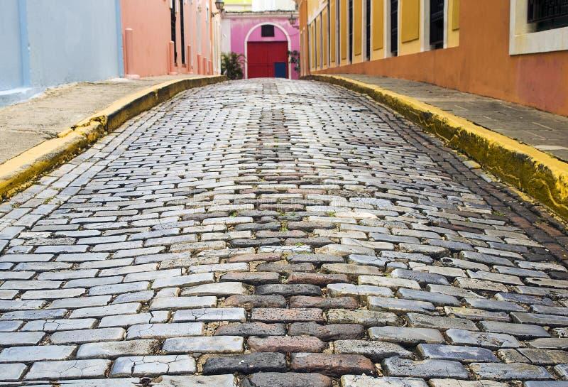 Old San Juan, Puerto Rico. Cobblestone Street at Old San Juan, Puerto Rico royalty free stock photography