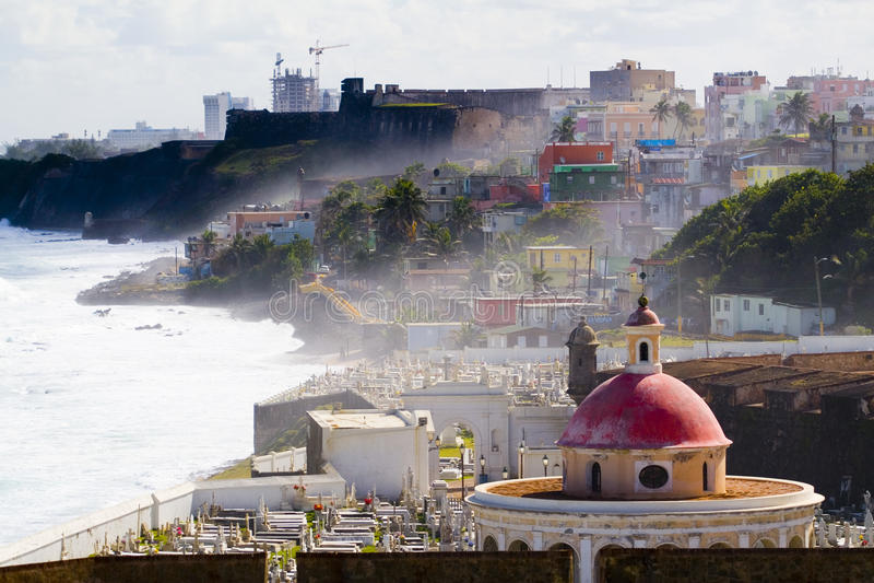 Old San Juan, Puerto Rico. View of the old San Juan area from Fort El Morro (Castillo San Felipe del Morro) in Puerto Rico. With views of Santa Maria Magdalena stock images