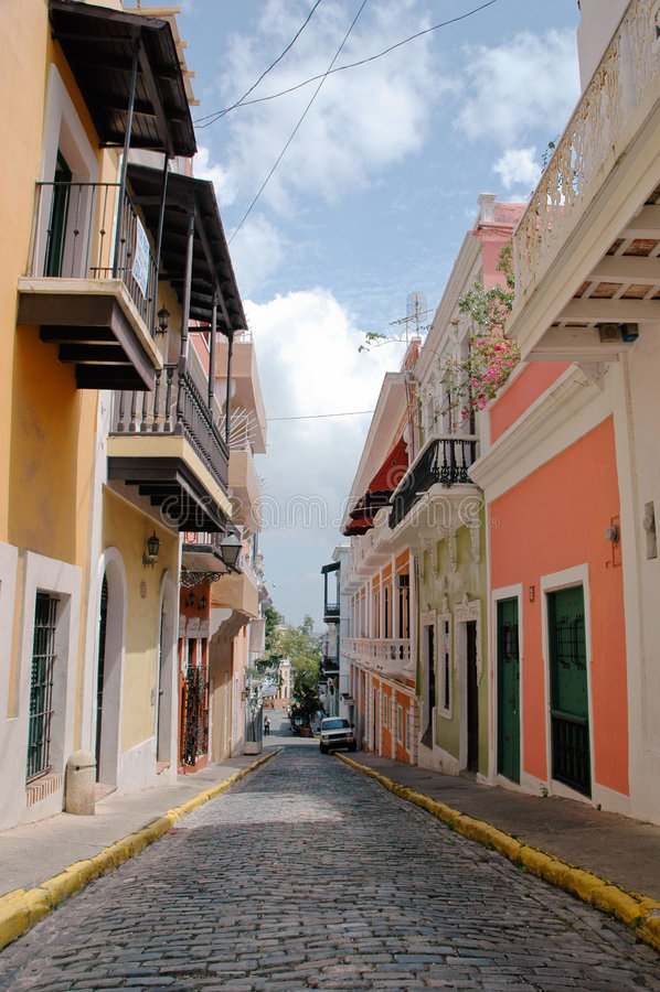 Old San Juan Street. Brick Paved Street in the center of Old San Juan, Puerto Rico royalty free stock photography