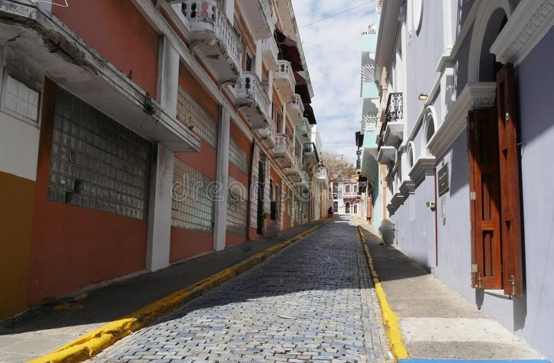 Old San Juan street, Puerto Rico stock photography