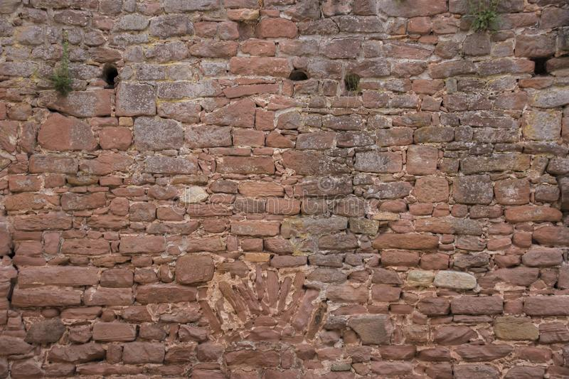 old sand stone brick wall stock photography