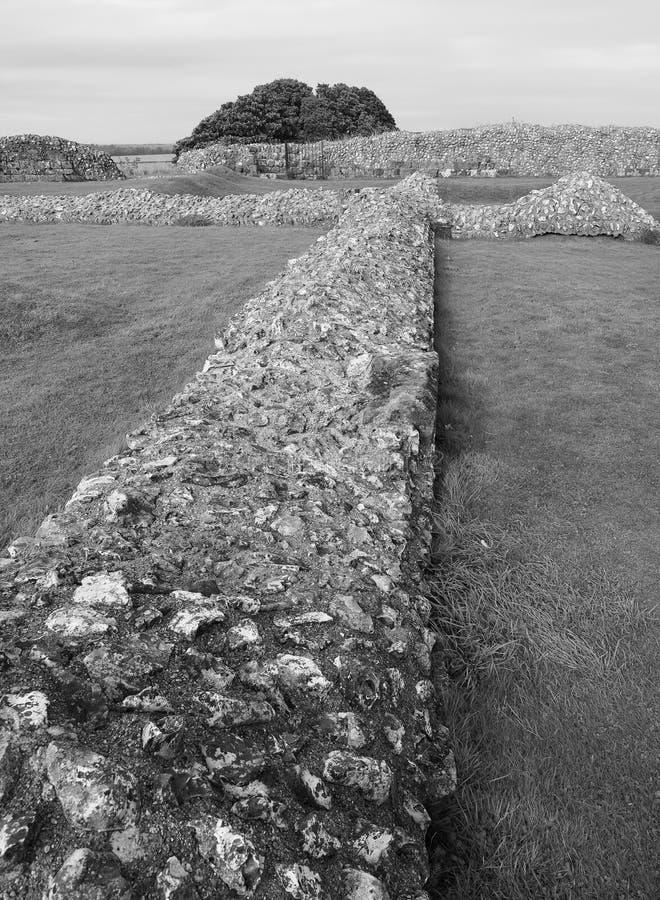Old Sarum Castle ruins in Salisbury in black and white. SALISBURY, UK - CIRCA SEPTEMBER 2016: Ruins of Old Sarum castle in black and white stock photos