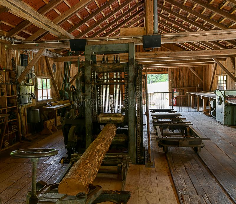An old sawmill. Here, like machines, they are still being moved by hydropower. The machines are powered by water royalty free stock photography