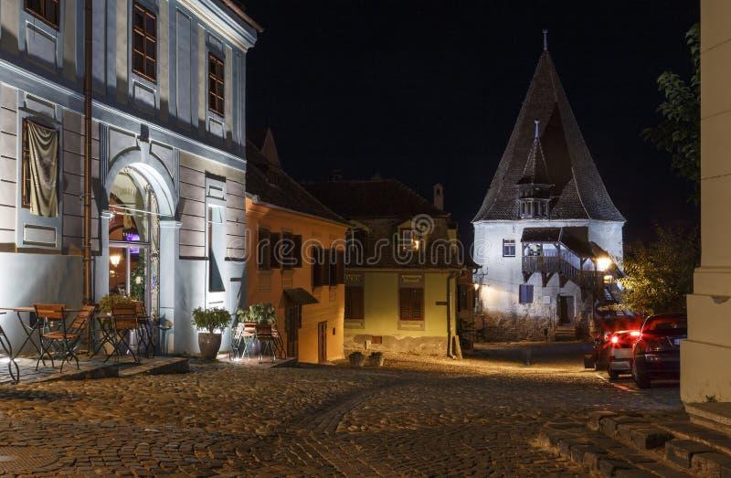Old saxon town Sighisoara, Romania, night view of the Bastion Tower. Transylvania stock photos