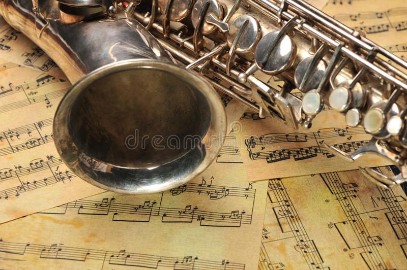 Download Old saxophone and notes stock image. Image of brass, lesson - 11454371