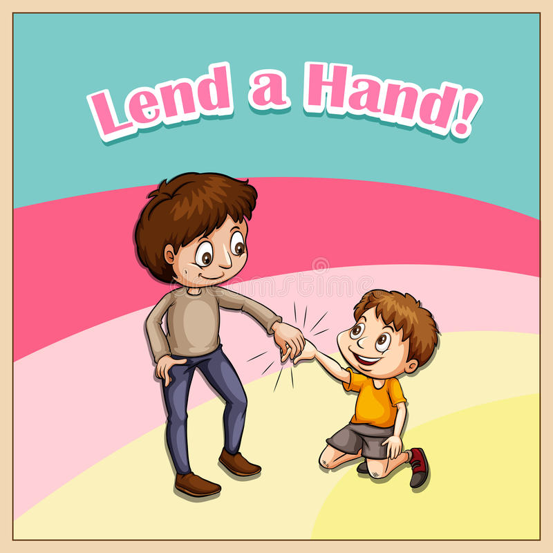 Old Saying Lend A Hand Stock Vector - Image: 59012973  Old Saying Lend...