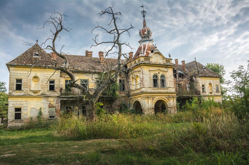 Old scary castle of Bisingen near city of Vrsac, Serbia stock photography
