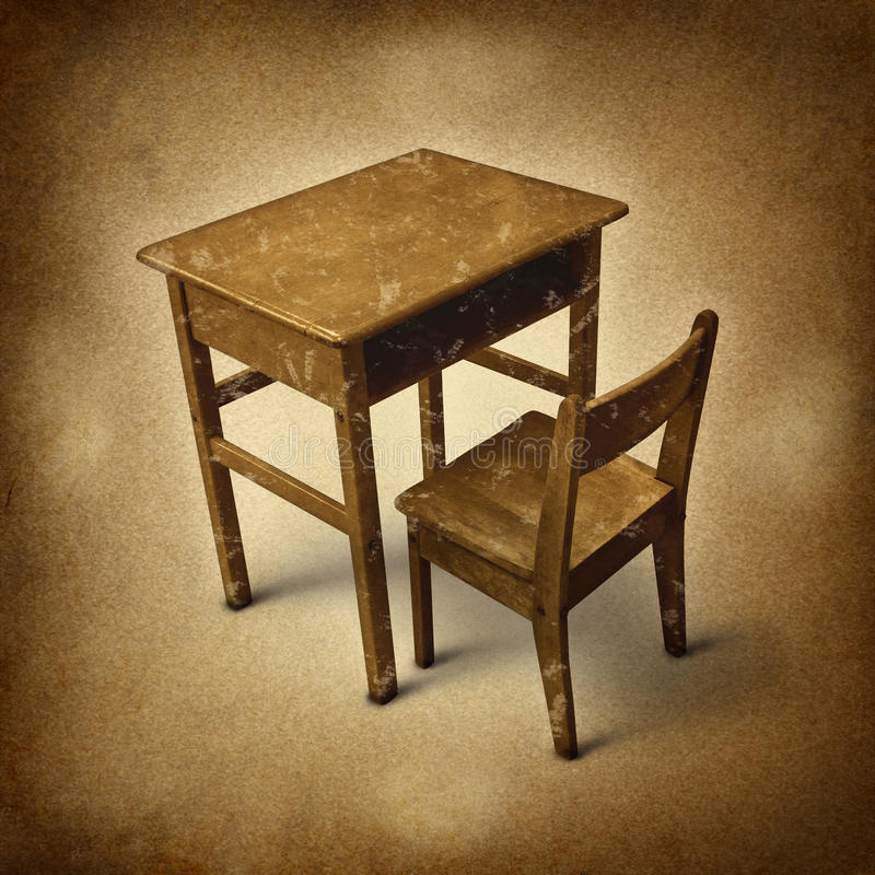 Old School. Desk symbol of education and learning in simpler times as an old fashioned era with vintage wooden student furniture on a dirty background stock illustration