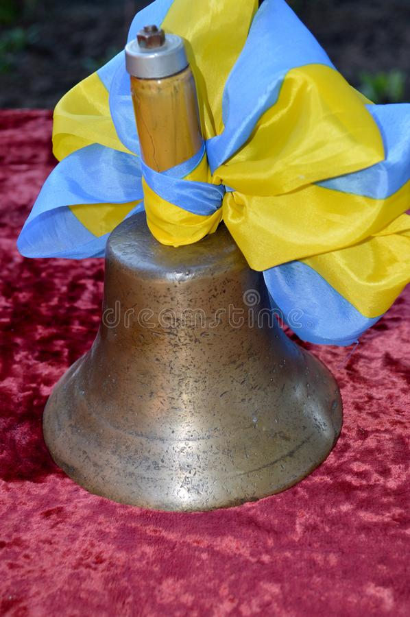Old school bell bronze stock photography