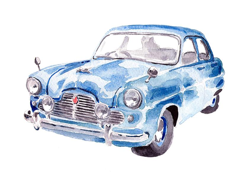 The old school is blue. Watercolor old school car for postcard or poster. Blue color and shine stock illustration