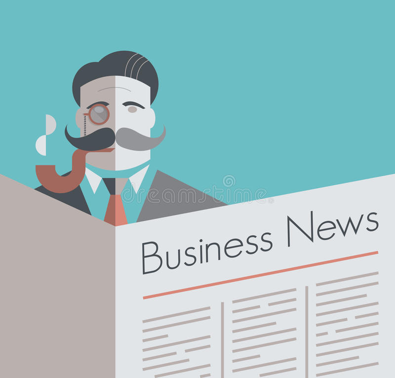 Old school businessman. With a monocle and smoking pipe reading Business News newspaper. Vintage style illustration. With copy space for your business text vector illustration