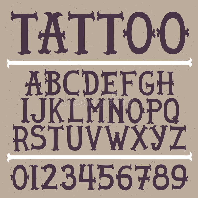 Old school hand drawn tattoo vector font royalty free illustration