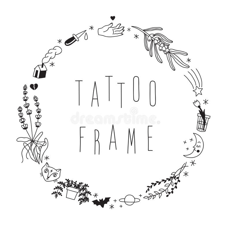 Old School Hipster Black Tattoos Vector Circle Frame. Stock Vector ...