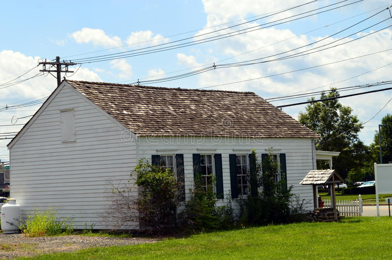 Old School House. Old historical school house from NJ. Monmouth County. One room School house. White and rustic look stock photo