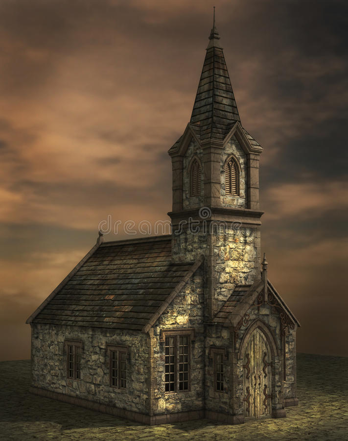Old School. An old school house rendered stock illustration