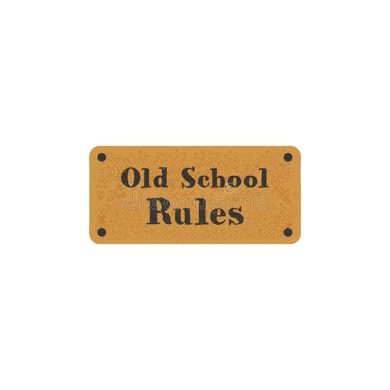 Old school label on retro card. Vintage hand drawn style. Stock typography isolated on white background.  royalty free stock image