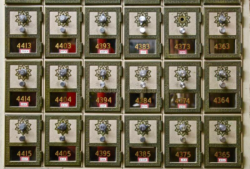 Old school mailboxes stock images