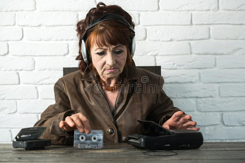 Old school music player, radio. royalty free stock photography