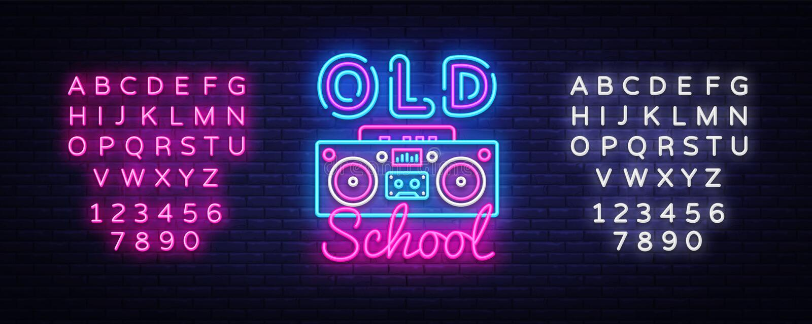 Old School neon sign vector. Retro Music Design template neon sign, Retro Style 80-90s, celebration light banner, tape. Recorder neon signboard, light stock illustration