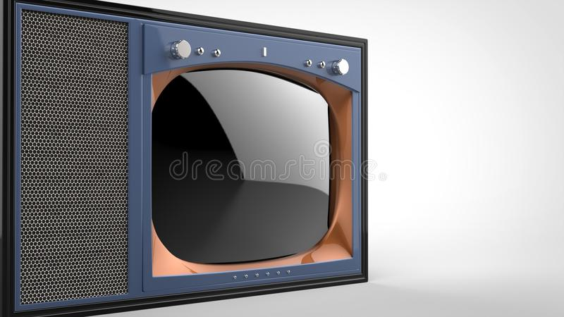Old school purple vintage TV set - cut shot. On white background royalty free illustration