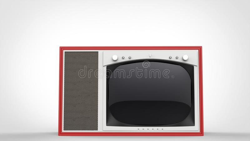 Old school red vintage TV set - front view. On white background vector illustration