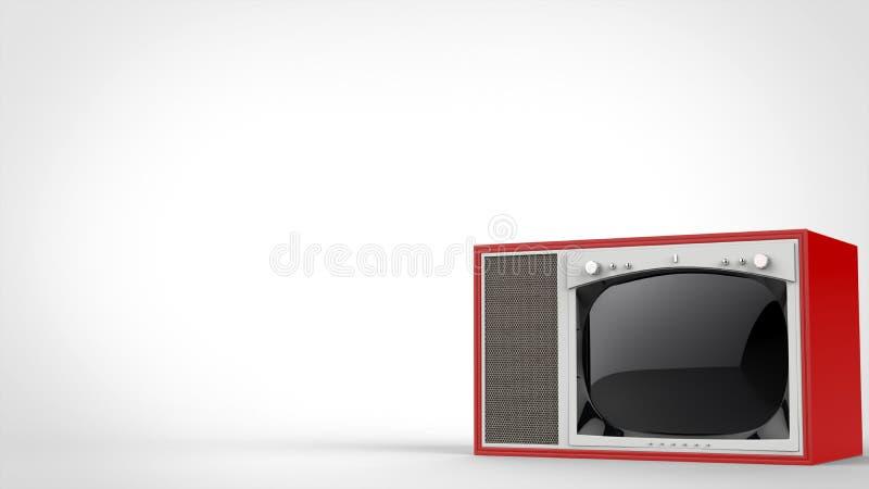 Old school red vintage TV set stock illustration