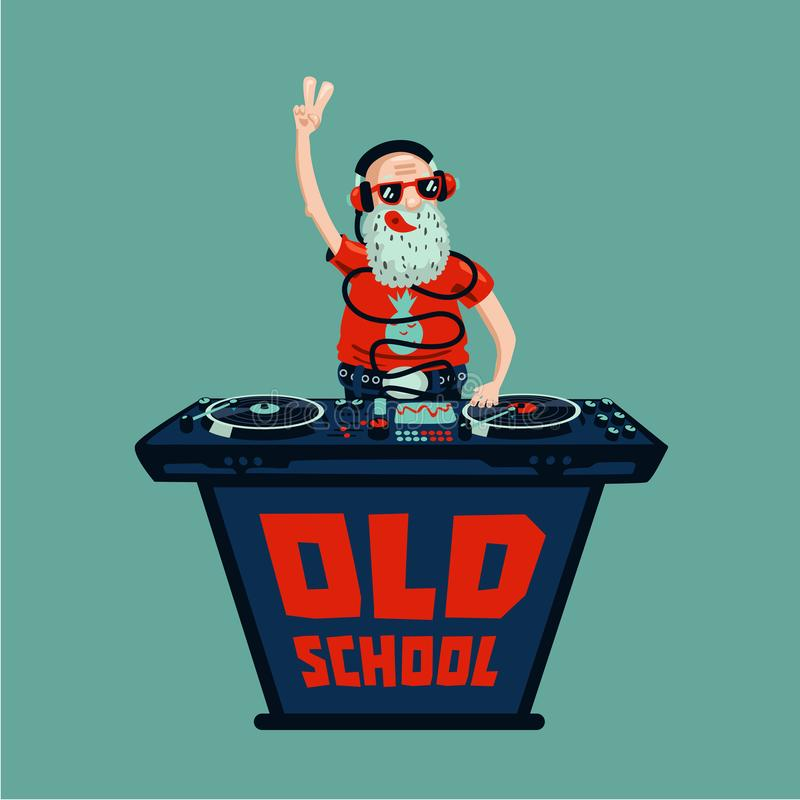 Old school retro party. Senior adult dj with vinyl. Senior adult dj is playing music.Old school retro party. Hip-hop poster vector illustration