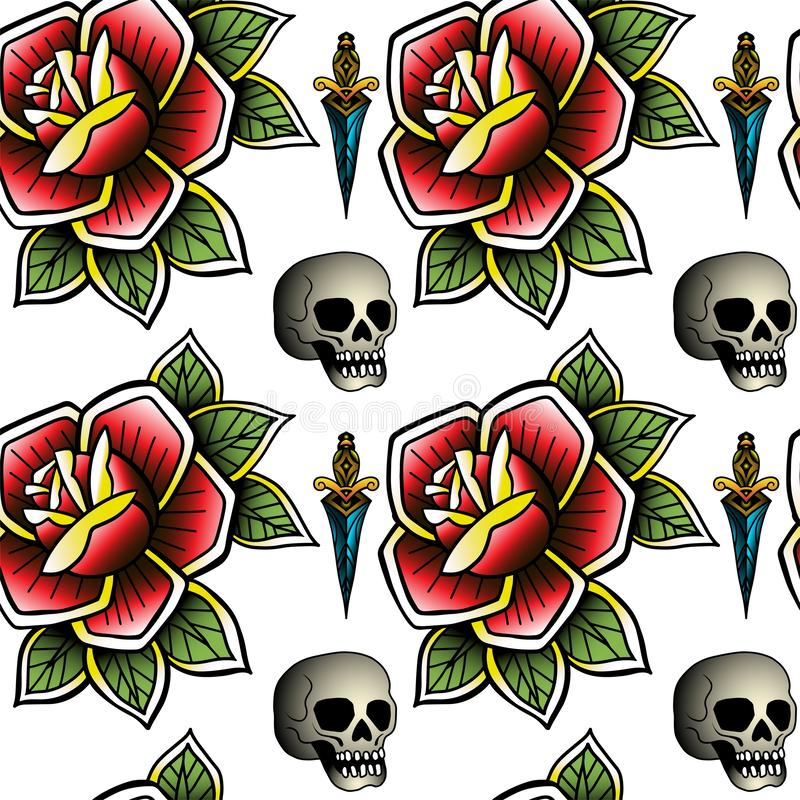 Old school retro vintage doodle tattoo seamless pattern.Rose, skull. knife.continuous openwork emblems symbols.Vector vector illustration
