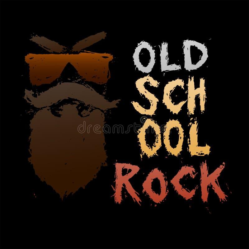 Old School Rock - Unique Hand Drawn Lettering  Stock Vector