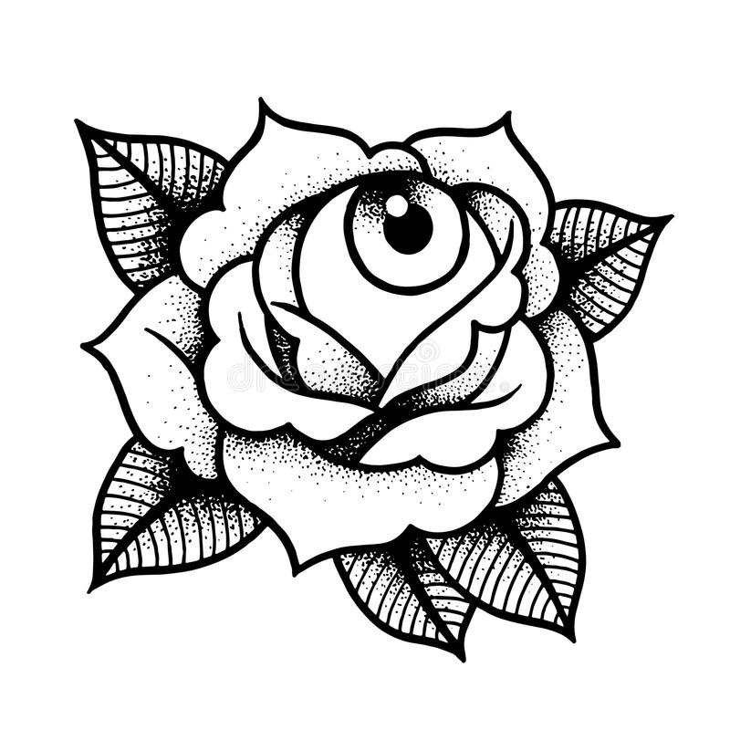 Old school rose tattoo with eye. stock illustration