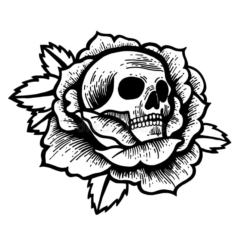 Old school rose tattoo with skull. Traditional black dot style ink. Isolated vector illustration. Traditional Tattoo Flowers Set Old School Tattooing Style Ink vector illustration