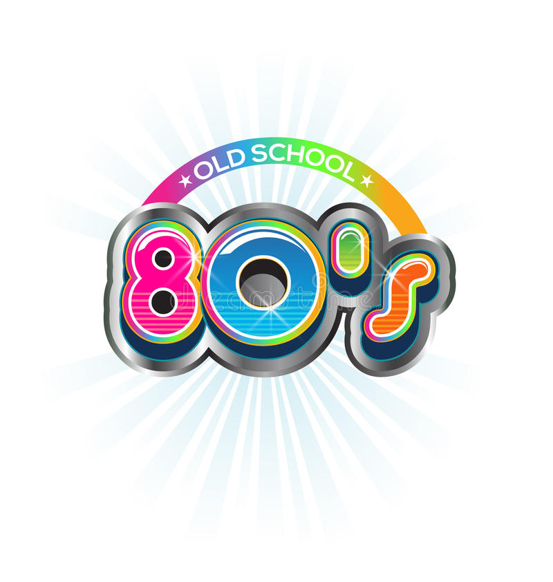 Old School 80s Vintage logo. Old School 80s Vintage sign. Vector Color design royalty free illustration
