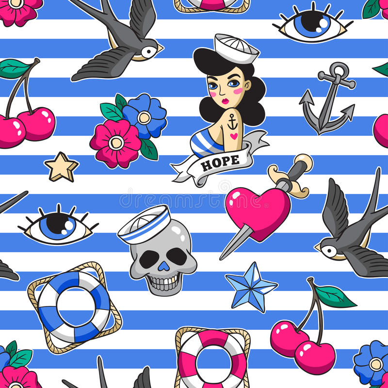 Old school seamless pattern in rockabilly style. Old school seamless pattern with heart, skull, sparrow, anchor and other elements. Vector background with stock illustration